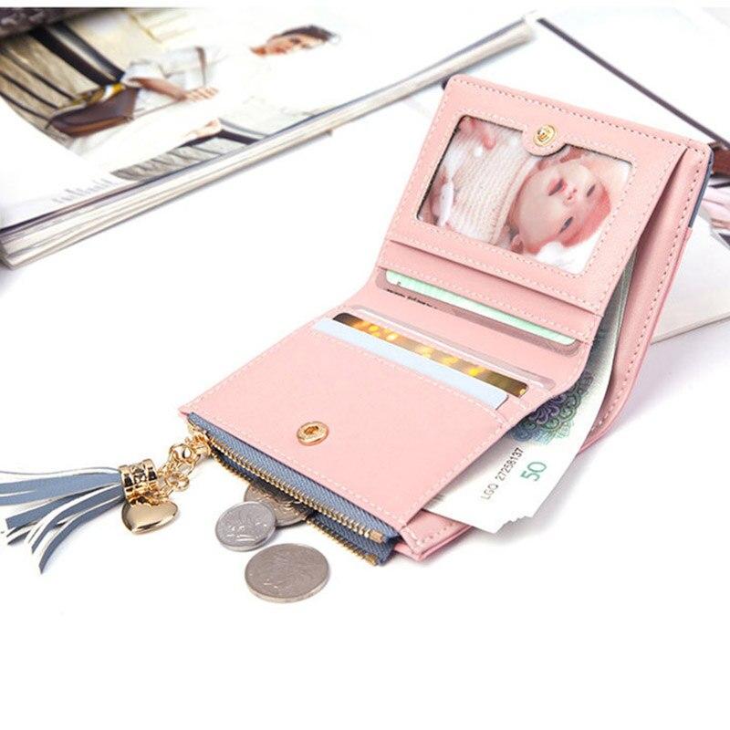 Leather Small Wallet Women Mini Women Wallets Purses Female Short Coin Zipper Purse Holder Tassel Zipper Button Bag (8)