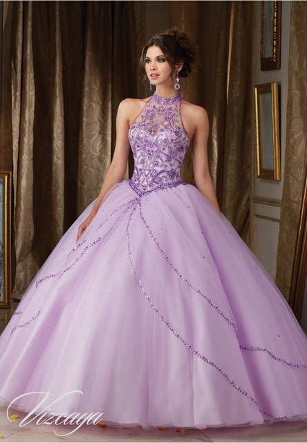 dd57acb4ad7 Light Purple Quinceanera Dresses beaded Halter Neck vestidos 15 anos de  princesa ball Gown Party Dress