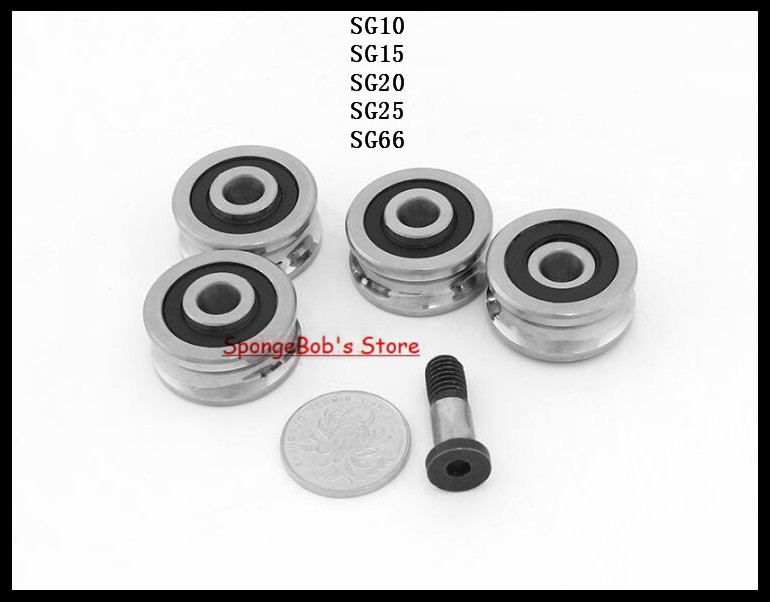 SG10 SG15 SG20 SG25 SG66 U Groove Bearing Steel Pulley Ball Bearings Track Guide Roller Bearing Deep Groove Ball Bearing 4mm walking guide rail groove u groove 604uu 4 12 4 5 mm 3d printer dedicated feeding roller bearings u604w5 u604zz