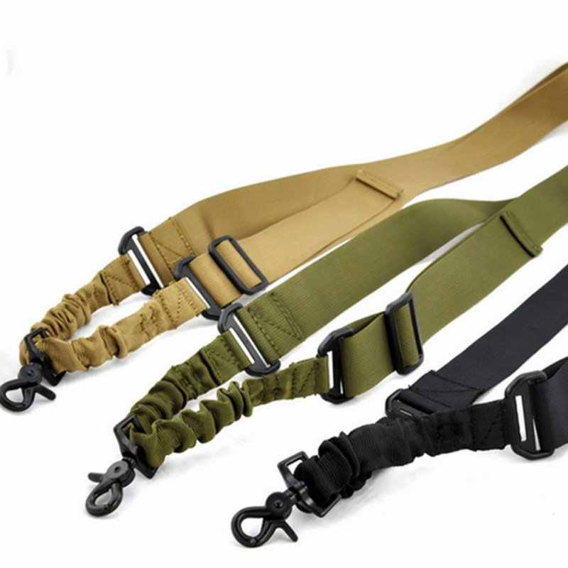 Nylon Verstelbare Tactical single point Bungee Rifle Airsoft Air Rifle Sling jacht Strap Schieten Accessoires schip uit de ONS