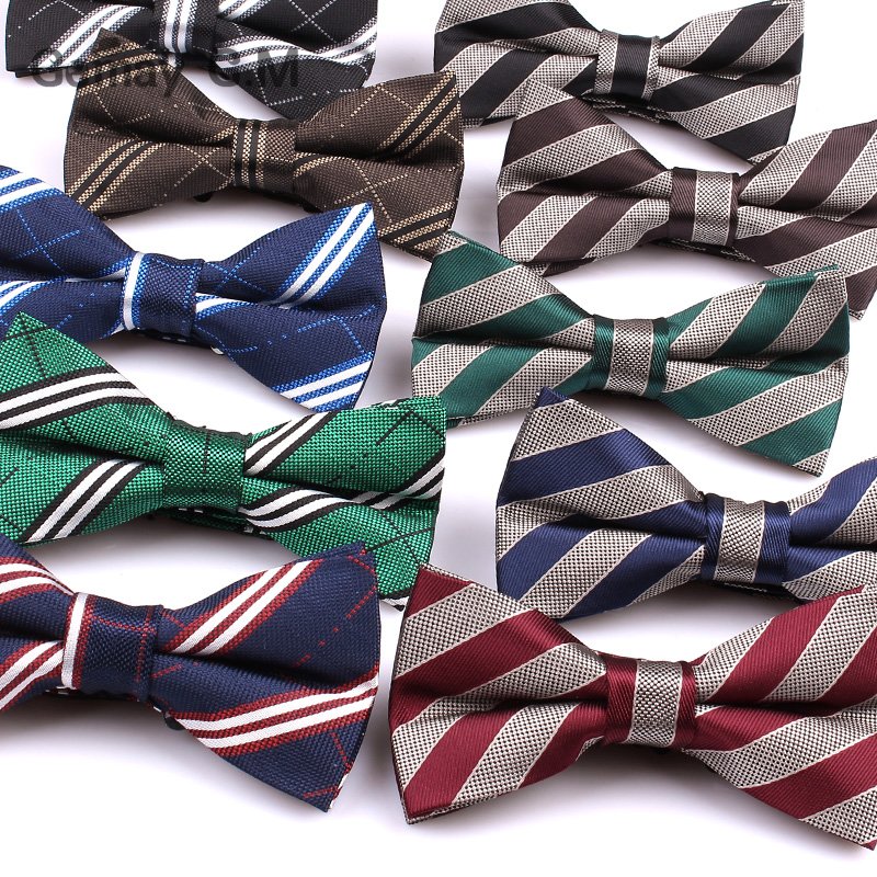 Brand Mens Bowtie Classic Shirts Bow tie For Men Business Wedding Polyester Bowknot Adult Striped Bow Ties Cravats
