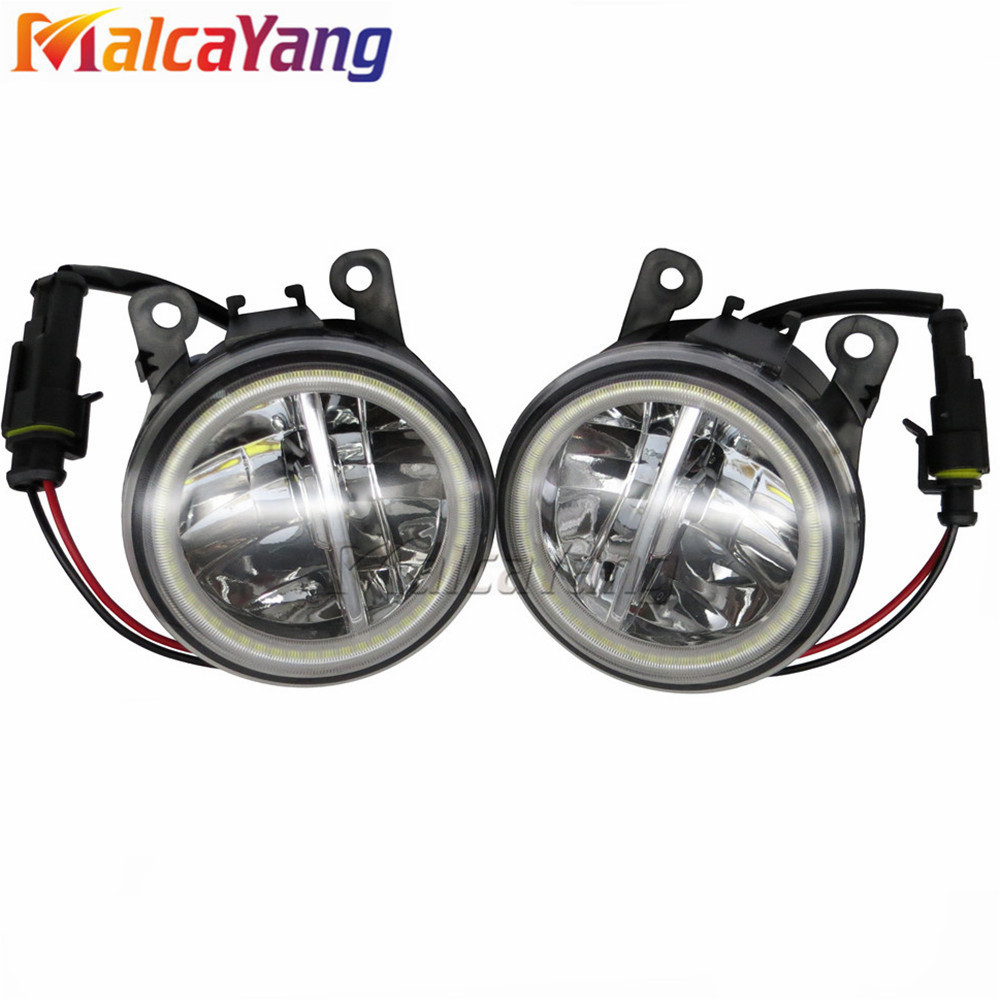 For Mitsubishi Outlander L200 Pajero Grandis Galant 2003-2015 Angel Eyes High Brightness Fog Lamp Assembly LED Fog Lights 1SET for mitsubishi l200 outlander 2 pajero 4 grandis 2003 2015 car styling angel eyes drl led fog lights 9cm spotlight ocb lens