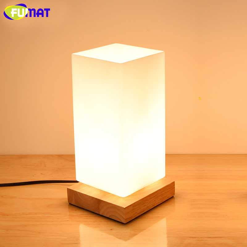 FUMAT Wood Glass Shade Table Lamps for Bar Restaurant Study Bedroom Table Lamp Dimmer Bedside Light Nordic Simple Desk Lamp цены