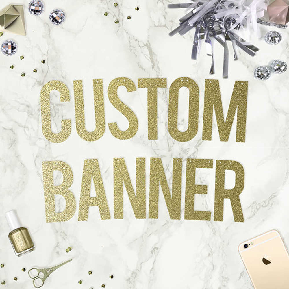 1 set Personalized Hollow Glitter Gold Letter Banner For Baby Shower Wedding Bachelorette Birthday Party Decortation