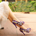 Purple Wedding Shoes Crystal High Heel Bridal Shoes Handmade Nightclub Rhinestone Bride Shoes Peep Toe Spring Women Prom Pumps