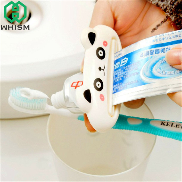 WHISM Plastic Cartoon Tube Rolling Holder Squeezer Toothpaste Dispenser Easy Use Press Squeezing Tool Home Bathroom Accessories
