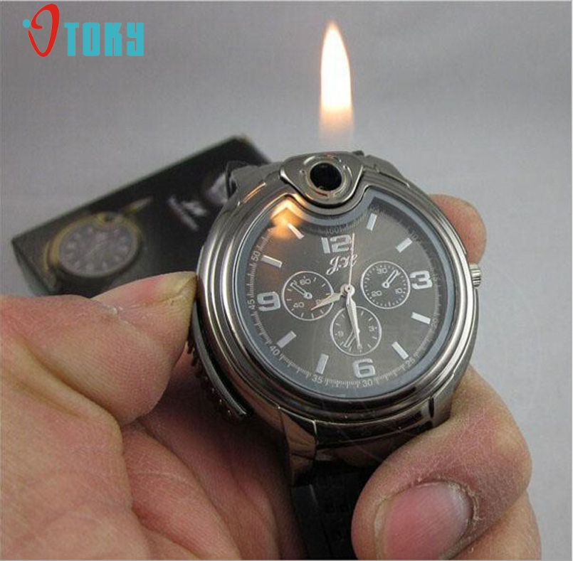 Excellent Quality New Military Lighter Watch Men Quartz Refillable Butane Gas Cigar Watches Special Designed Free