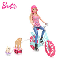 Barbie Feature Lead Pet Doll Cycling Suit Doll CLD94 Girl S Best Friend Puppies Great Puppy