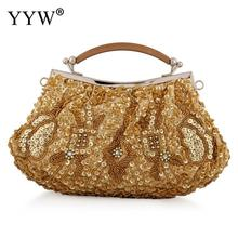 цены YYW Gold Women Top Handle Hand Bags Vintage Beaded Wedding Handbag And Purse Totes Bride Female Evening Party Clutches Bag