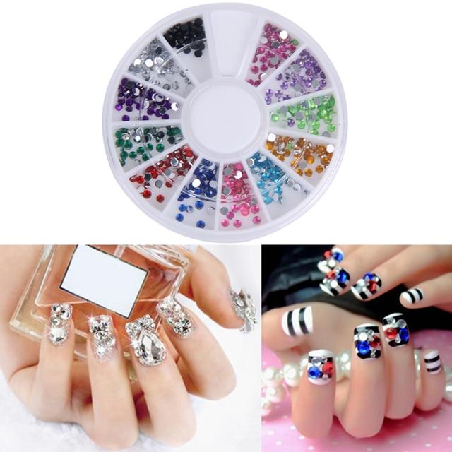 Nail Art Rhinestones Decoration 3d Wheel 12 Mix Color Glitter Gems