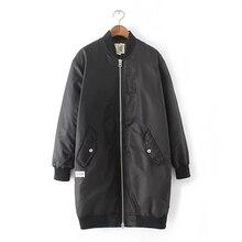 Ladies Long Style Varsity Jacket SP&AU 2016 Harajuku Army Green Stand Collar Thick Windbreaker Free Shipping