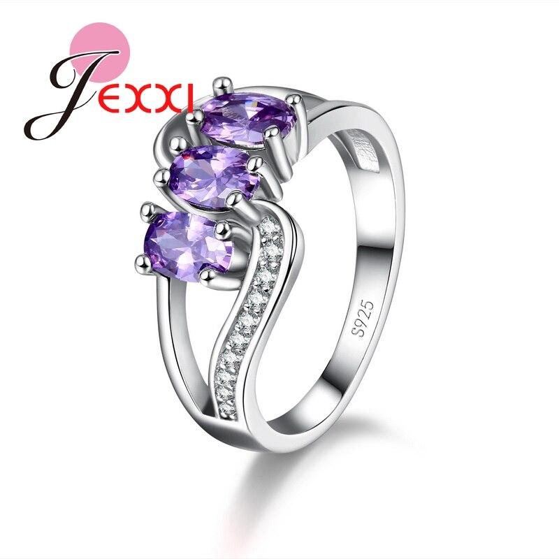 JEXXI moda diseño 925 anillos de plata esterlina para mujeres banda joyería  compromiso Bague CZ anillo de cristal para mujer 491392cb2715