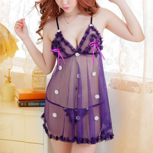 Hot Ladies Sexy Lingerie Transparent Sleepwear Porn Women Erotic Nuisette Sexy Babydoll Night Sex Dress