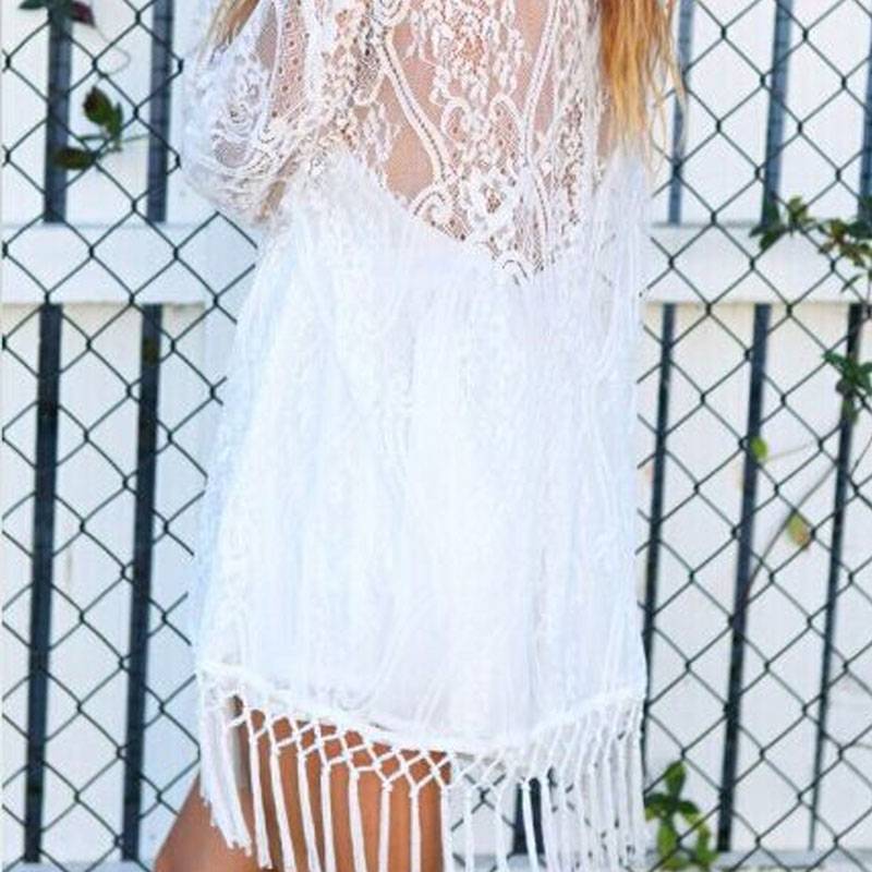 YCDKK 2017 New Summer Swimsuit Lace Hollow Crochet Beach Bikini Cover Up Sexy Women Tops Swimwear Beach Dress White Beach Dress 4