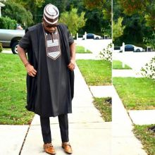 no cap african dress men 3 pieces set