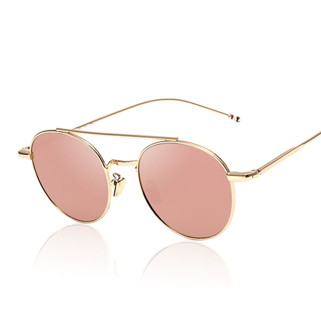 35b276a7e371 Pink Sunshades Brand Designer 2017 New Round Men Women Fashion Mirror  Sunglasses Lady Italy UV400 Sun Glasses Famous Vintage