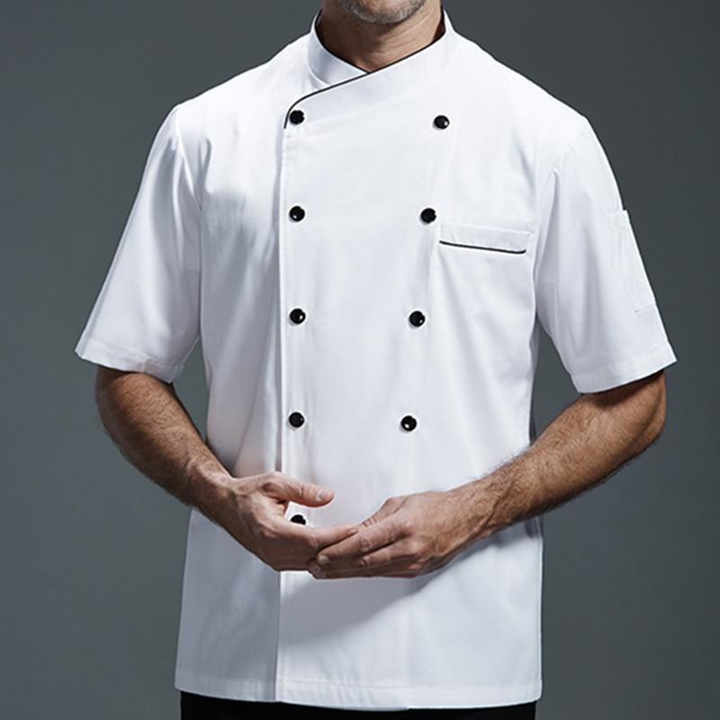 White Gray Black Short Sleeve Shirt Hotel Restaurant Kitchen Chef Uniform Barista Bistro Diner Baker Bar Catering Work Wear B79