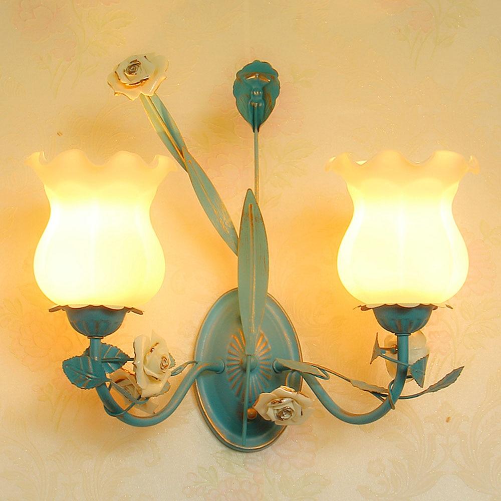 Wall Light E27 Blue iron Wall Lamp 110v-220v Loft Lighting Wall Mounted Bedroom Reading glass Lamps Luminarias Led цена