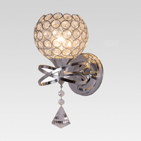 Classic Vintage Crystal wall light Bedside Silver ball crystal Wall Lamp 110V 220V crystal wall sconce with pull switch