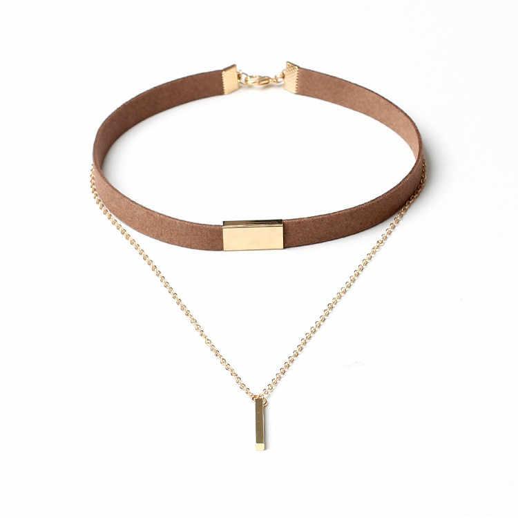 Stylish Bar New Women Ladies Black Velvet Choker Necklace Gold Chain Bar Chokers Necklaces & Pendant Bijoux Enfant Colgantes #20