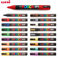 Uni Posca PC-5M Colored Paint Marker Pens School Stationery Office Supplies Art Marker Medium Tip 1.8-2.5mm 17 Color Markers Pen