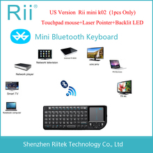 Sale 2015 RII K02 3IN1 MINI Wireless Bluetooth Keyboard Laser Pointer Touchpad Backlit Keyboard for PC Andorid TV Box