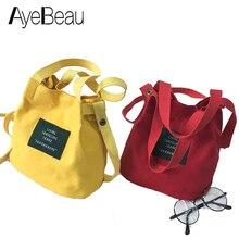 Small Yellow Canvas Lady Female Tote Hand Cross Body Shoulder Crossbody Messenger Bucket Bag For Women Handbag Sac A Main Femme