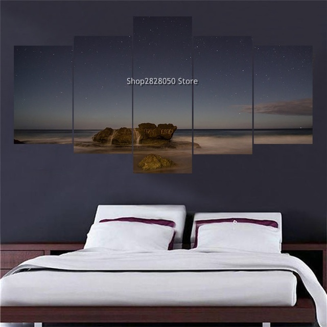 Hot 5 Piece Landscape Picture Customized Canvas Wall Art Large Print Photo  Interior Paint Companies Modular