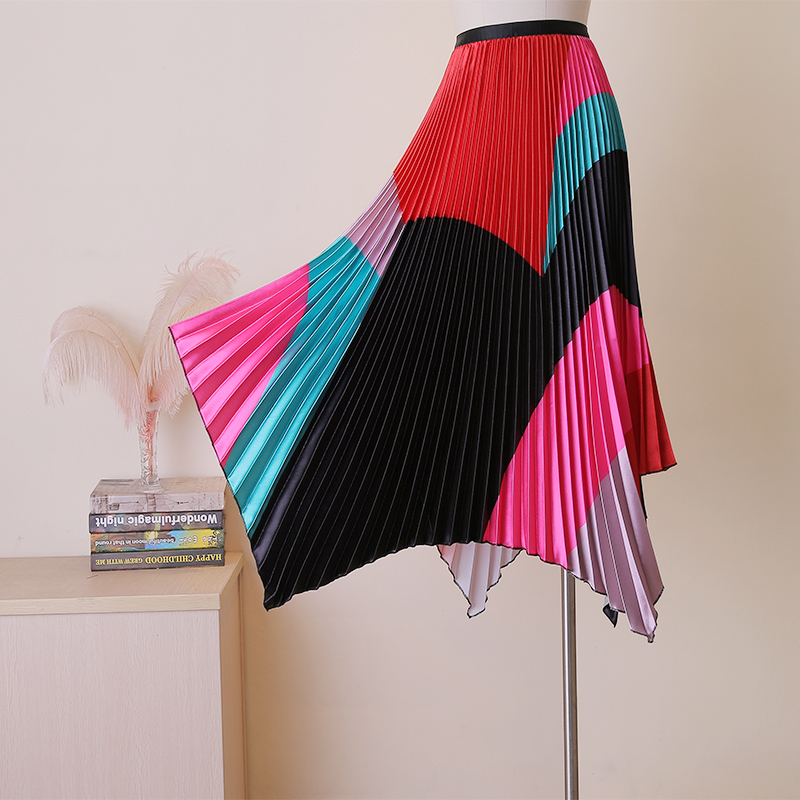 High Street Female Multi Color irregular bottom Stretch Waist Colorful printed feminina Saias skirt