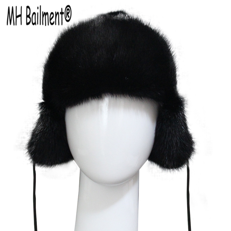 2017 New Children's Whole Mink Hat Winter Babys Warm Thickening Ear Cap Girls and Boys Solid Black Natural Mink Fur Beanies H#31 xthree winter wool knitted hat beanies real mink fur pom poms skullies hat for women girls hat feminino page 4