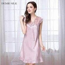Demiesilk Női Szilárd színű utánzás Silk hálóruha csipke V-nyakú nyári ruhák fölött térd Silky Sleepshirts FAN15XSQ017