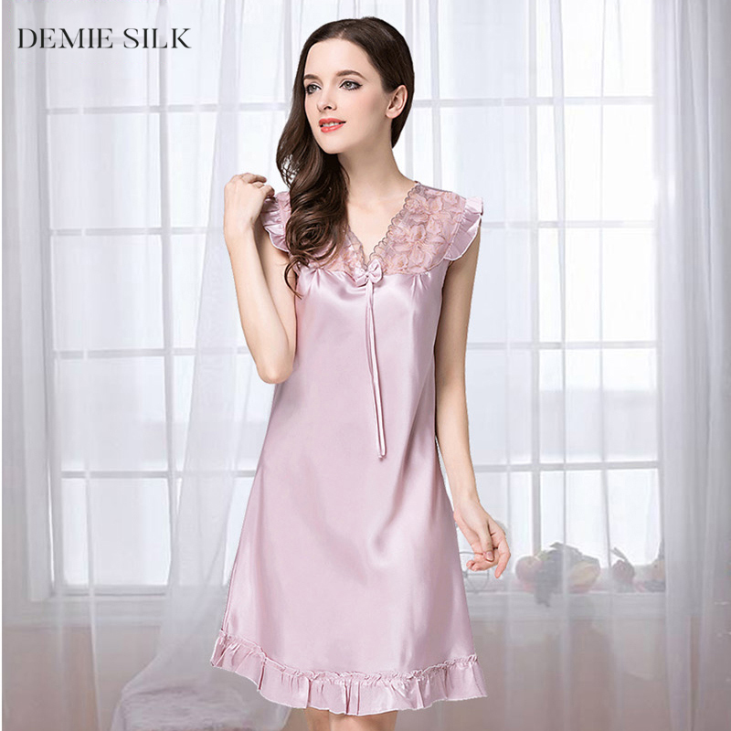 Demiesilk Women Solid Color Imitation Silk Sleepwear Lace V-Neck Summer Nightgowns Above Knee Silky Sleepshirts FAN15XSQ017