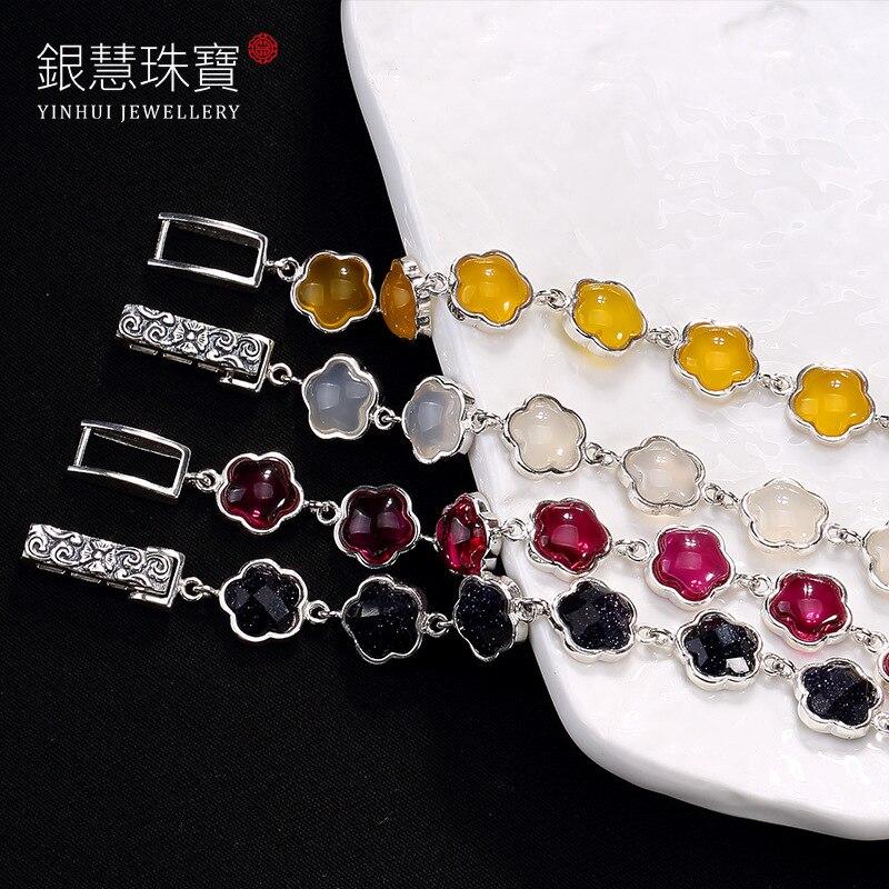 Здесь продается   ways is the plum blossom chalcedony blue sandstone red corundum Thai silver wholesale high-grade ladies bracelet  Ювелирные изделия и часы