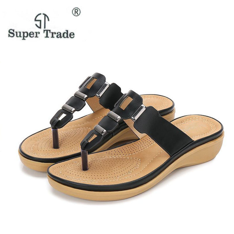 Spring & Summer New Flat Women Summer Sandals 2018 Female Leisure All-Match Pearl Sandals Woman Shoes Comfort Beach Summer Shoes fongimic summer women flat shoes comfortable casual all match beach sandals high quality girl beach flowers elastic band sandals