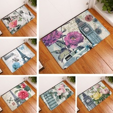 Felpudo de gamuza con flores Vintage para decoración del hogar, Felpudo de cocina al aire libre, alfombra de baño, alfombrilla de baño, alfombras de baño de 50x80cm