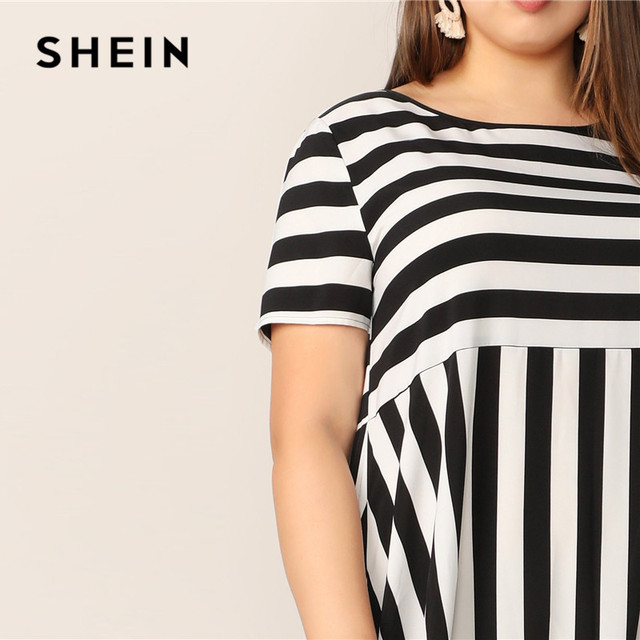 SHEIN Plus Size Black And White High Low Hem Striped Dress 2019 Women Summer Modest Casual Ruffle Hem High Waist A Line Dresses 4