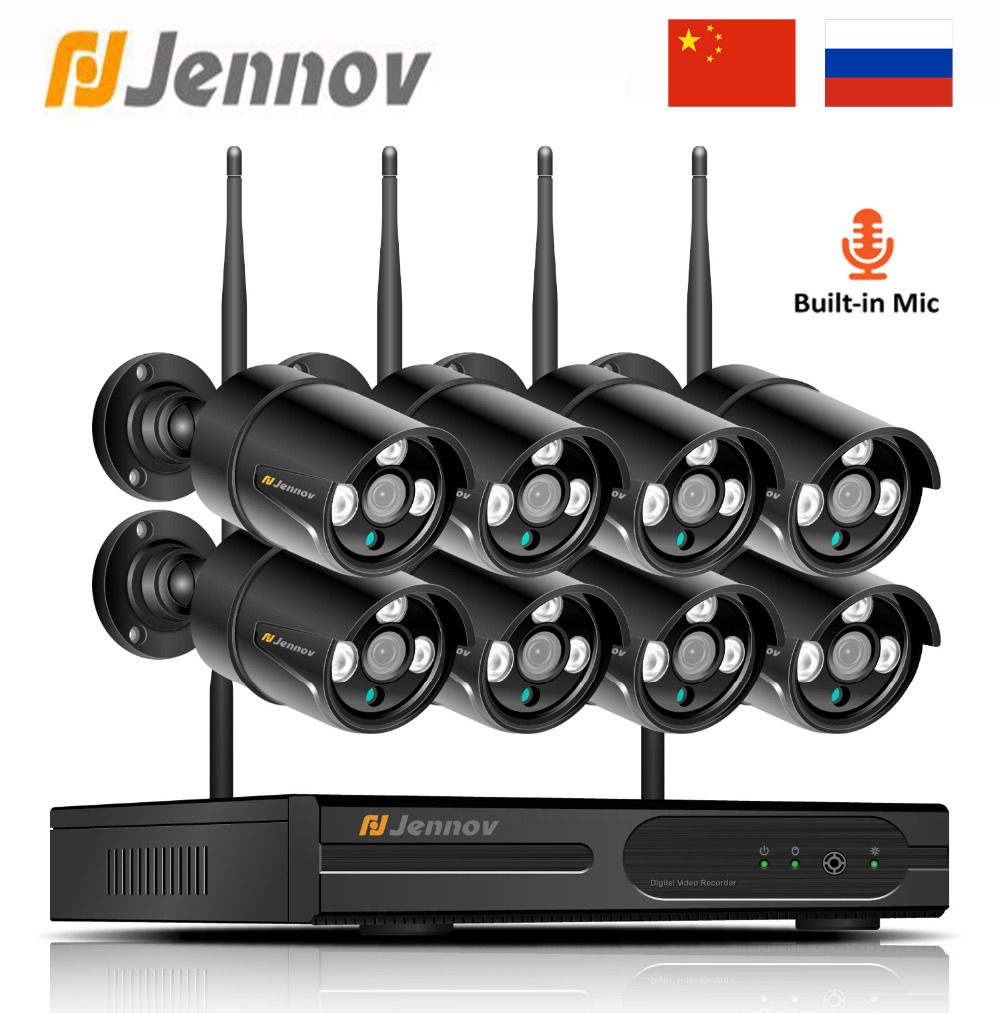 Jennov товары теле и видеонаблюдения IP камера Wi Fi 1080 P 8CH 2MP безопасности системы беспроводной с Запись NVR комплект Открытый CCTV