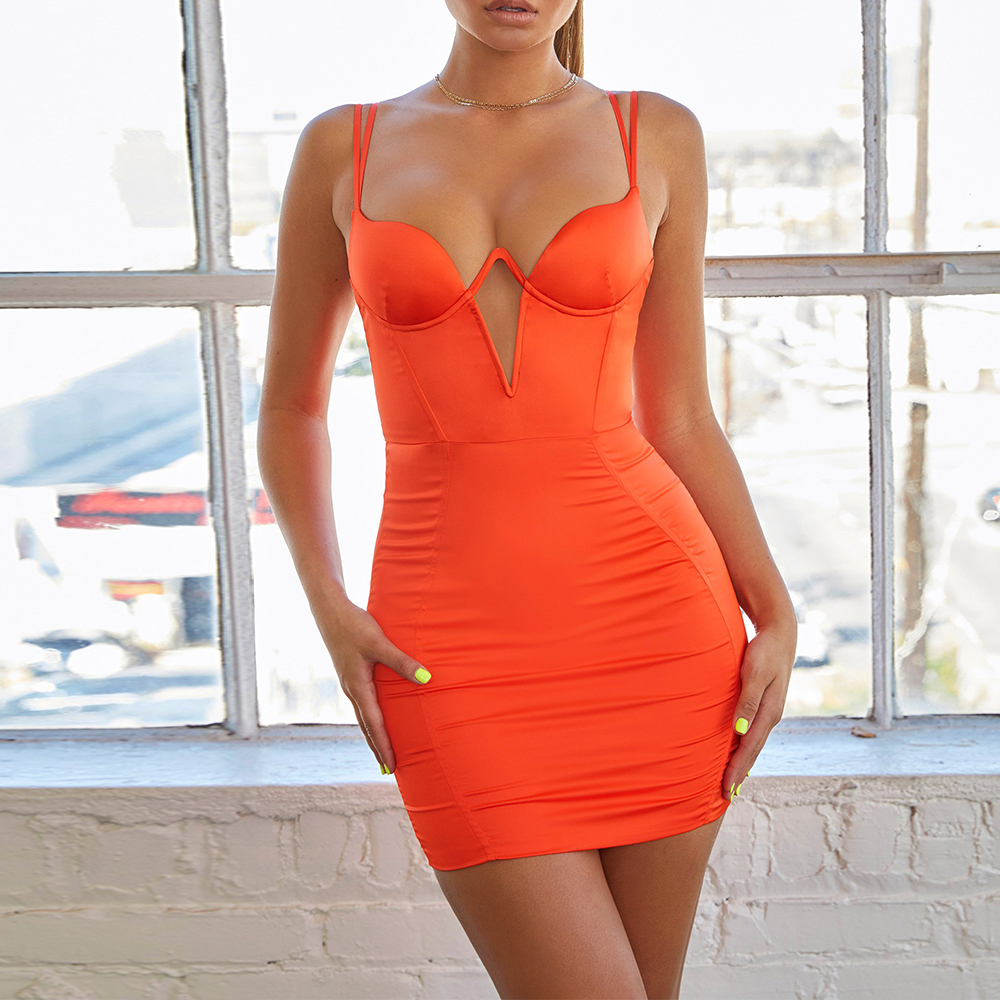 Ocstrade été 2019 femmes néon Orange Bandage robe Sexy Spaghetti sangle Mini Bandage robe moulante soirée boîte de nuit robe