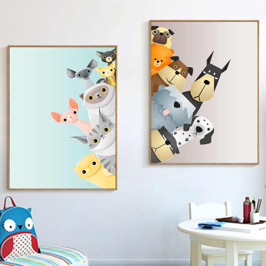 Cartoon Dalmatian Dog Cat Wall Art Canvas Painting Nordic Posters And  Prints Nursery Wall Pictures For Kids Room Baby Room Decor