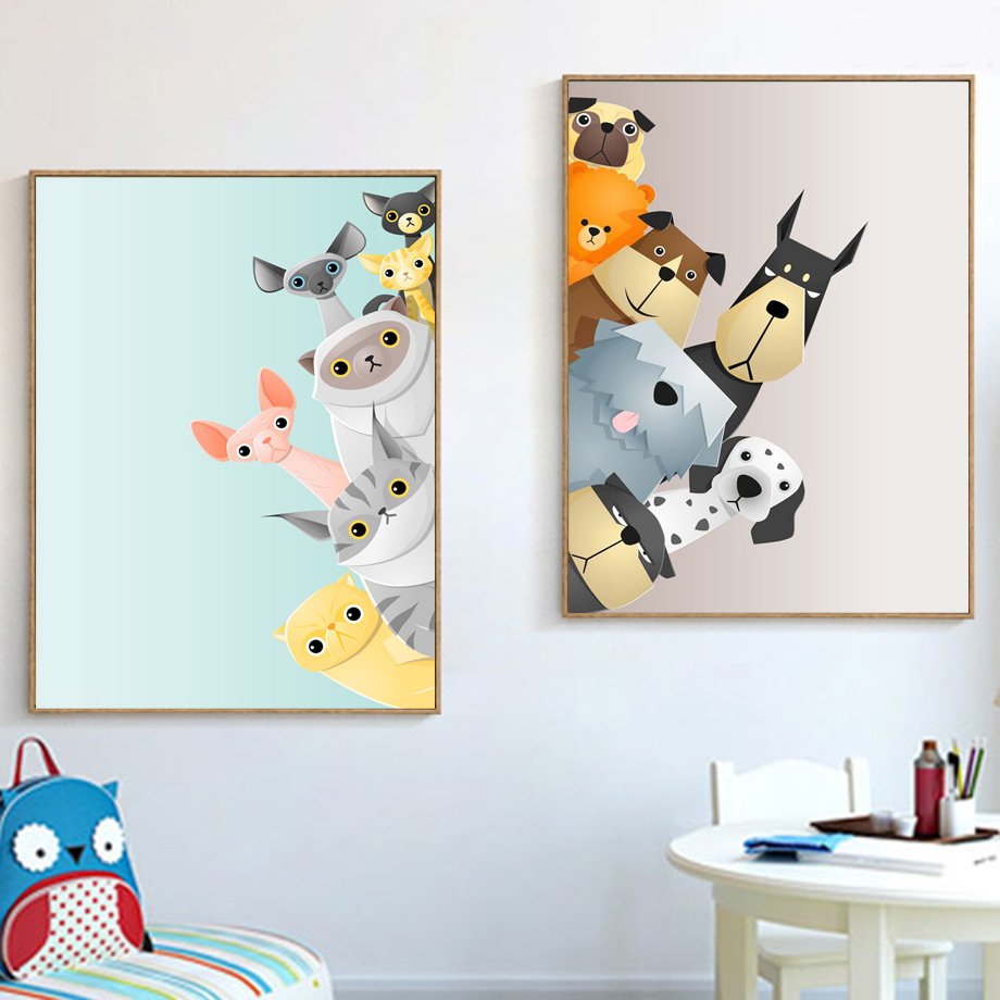 Cartoon Dalmatian Dog Cat Wall Art Canvas Painting Nordic Posters And Prints Nursery Wall Pictures For Kids Room Baby Room Decor|picture For Living Room|art Print Posterwall Pictures - AliExpress