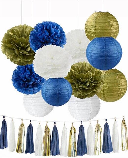 2 Sets Tissue Pom Poms Paper Lanterns Navy Blue White Gold Tassel