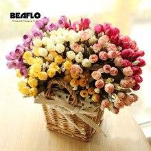 Искусственные розы, шелковые, европейский стиль, букет, искусственные цветы, маленькие бутоны, розы, имитация, свадебные, для дома, вечерние, украшения