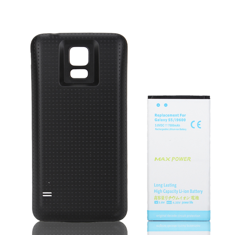 7000mAh Replacement Extended Backup Phone Battery For Samsung Galaxy S5 i9600 Battery + Black Back Cover Case