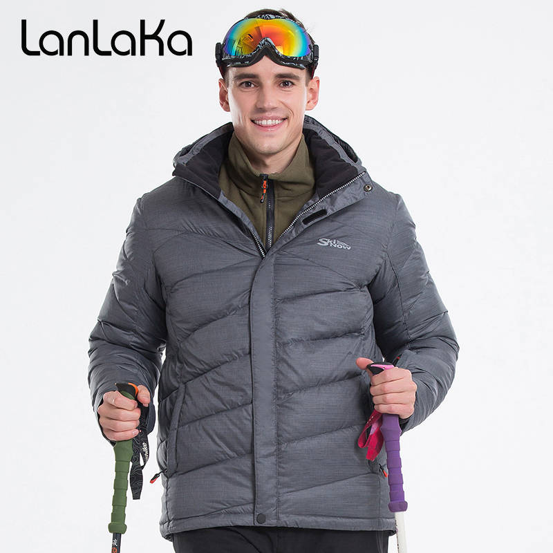 LANLAKA Men Ski Jacket Snowboard Jacket Hooded Super Warm Windproof Waterproof Breathable Winter Clothing Male Coat Sport Wear