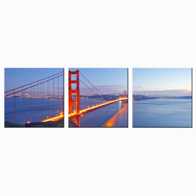 3 Piece Canvas Wall Art Print San Francisco Golden Gate Bridge Night Poster  Modern City Landscape