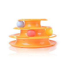 2017 Newest  Funny Pet Toys Cat Crazy Ball Disk Interactive Amusement Plate Play Disc Trilaminar Turntable Cat Toy