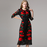 2017 Newest Summer Classic Design Women Elegant Flower Luxurious Embroidery Lace Vintage Dresses Straight Slim Dress