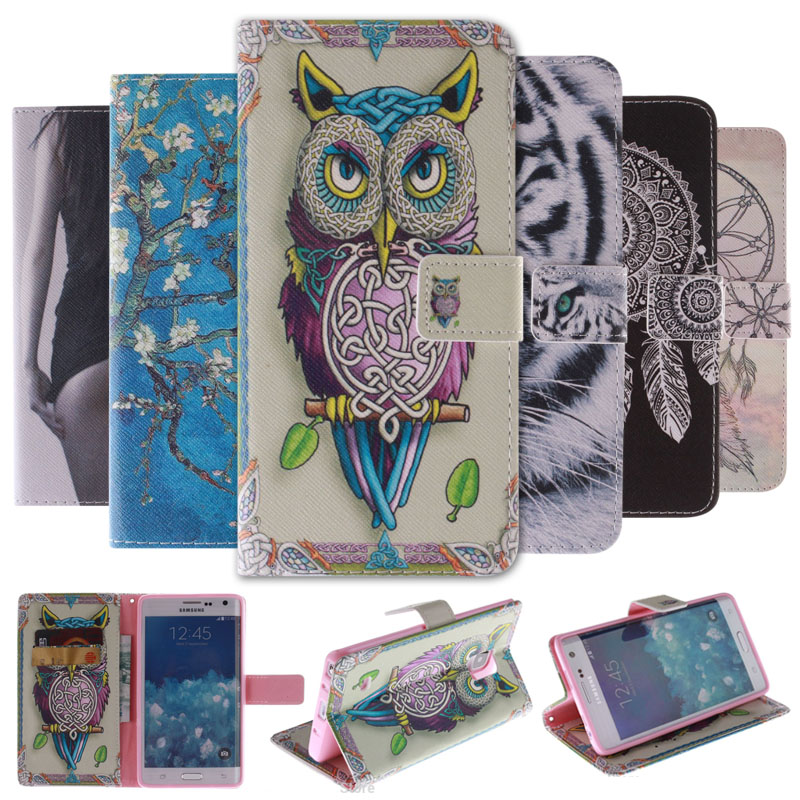 Painting Stand <font><b>Flip</b></font> Leather cover <font><b>case</b></font> for <font><b>Samsung</b></font> Galaxy <font><b>Note</b></font> Edge N9150 / <font><b>Note</b></font> 3 <font><b>4</b></font> 5 cell phone <font><b>Cases</b></font> Wallet with Card Holder image