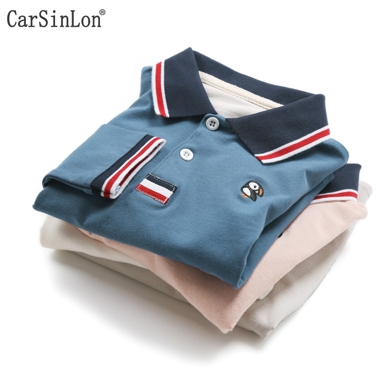 Free Shipping 2018 Spring Boys Polo Shirt Long Sleeve Striped Collar Solid Thin Cotton Embroidery Kids Tops Tees White brief polo collar solid color long sleeve long blouse for women