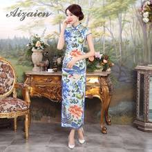 d6994051fd336 Soie bleue traditionnelle Chinoise Robe longue Cheongsam Qipao robes Robe  Chinoise Style Oriental mariage Qi Pao